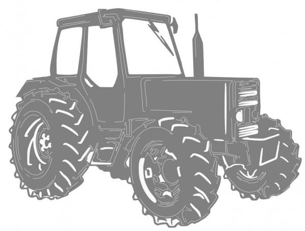 Gl-cklicher-Kunde-nimmt-seinen-Traktor-in-Empfang-Stahlblechzuschnitt-Entwurf